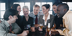 people drinking together