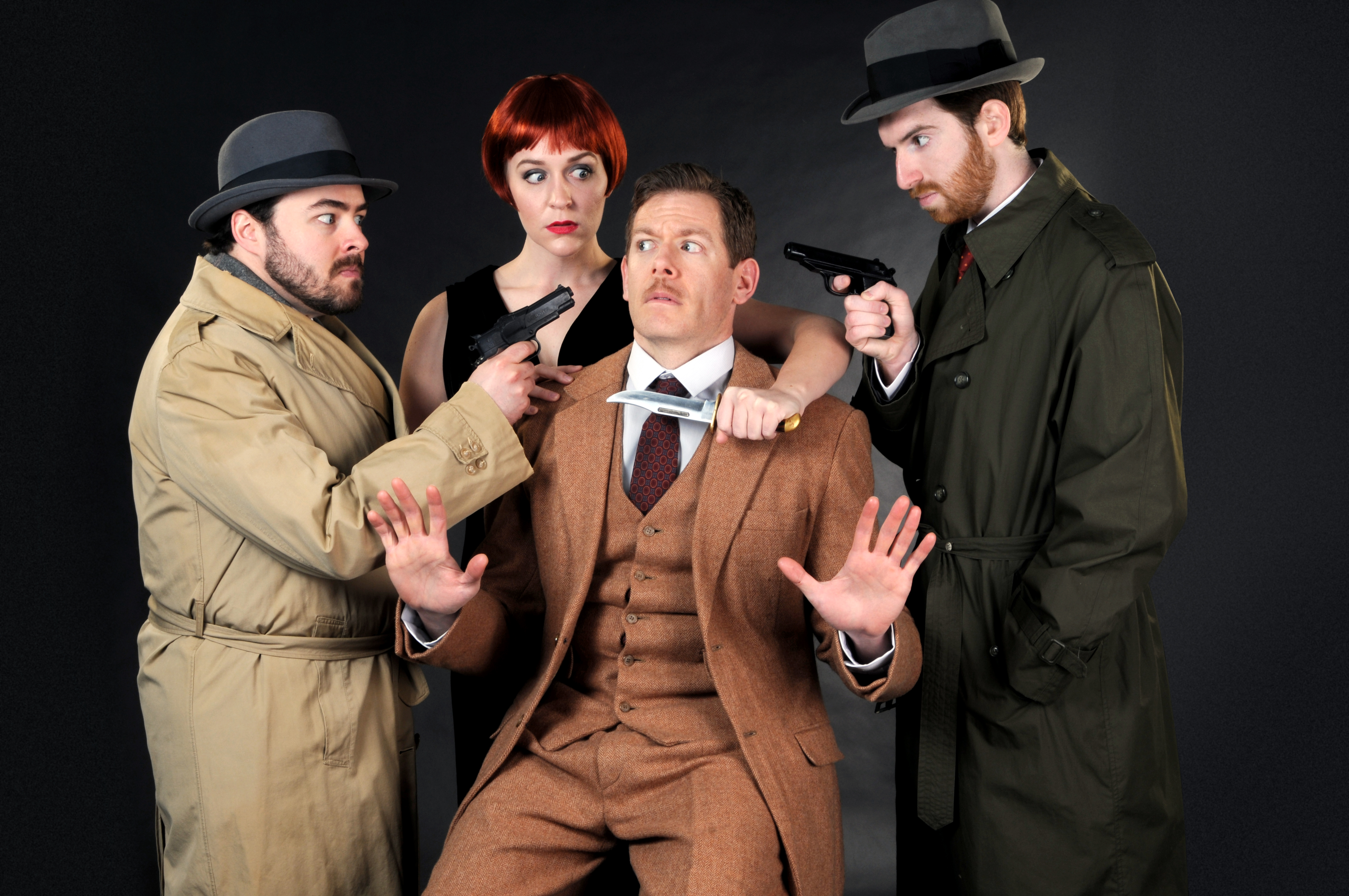 Allan Snyder, Luke Halferty, Megan Pickrell and Quinn Patrick Shannon in 'The 39 Steps' at the CLO Cabaret